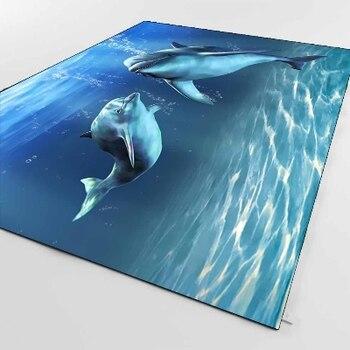 Еще тропические под морем плавающие дельфины рыбы 3d принт Нескользящая микрофибра Гостиная декоративный современный моющийся коврик