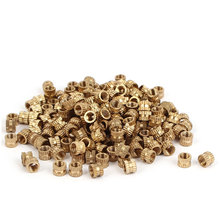 UXCELL M4 X 4Mm Female Thread Brass Knurled Threaded Insert Embedment Nuts 200Pcs