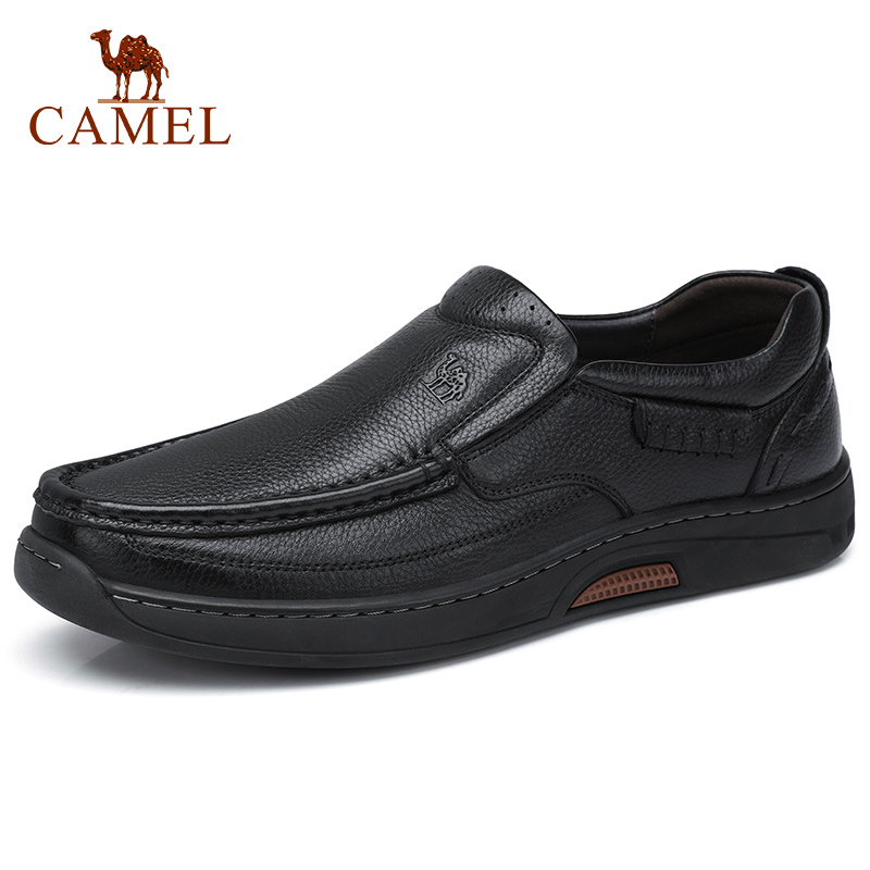 CAMEL Men's Shoes With Fur Business Casual Genuine Leather Shoes Men Loafers High Elastic Resistant Rubber Footwear Man Flats
