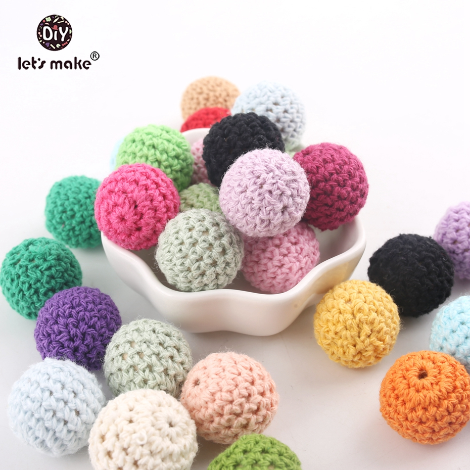 Let s make Whoesale 500pcs 20mm Crochet Beads Knit Weave Beads DIY Nursing Necklace Maple Wood