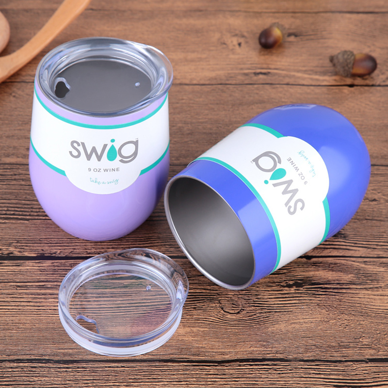 2018 Hot New Style Swig Cups 9OZ Egg Shaped Cup 304 Stainless Steel Wine Glass with Lid Wine Beer Cup 24 Colors Dropshipping