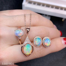 KJJEAXCMY boutique jewelry 925 sterling silver inlaid natural opal gemstone female pendant necklace ring earrings set support de opal hamsa choker necklace fatima hand pendant necklace natural opal stone israel jewish jewelry 925 sterling silver jewelry