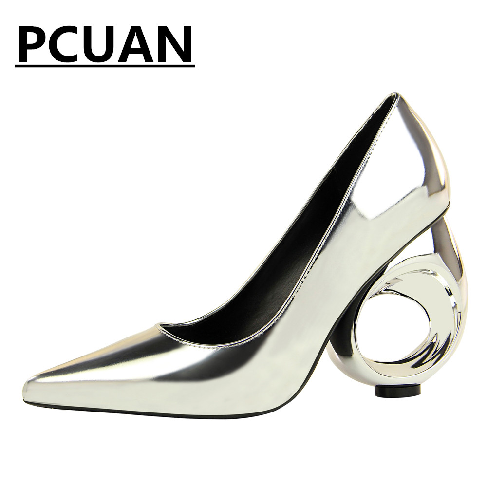 2018 fashion new women's shoes sexy nightclub women's shoes high heels metal hollow with high-heeled shallow mouth pointed shoes стоимость