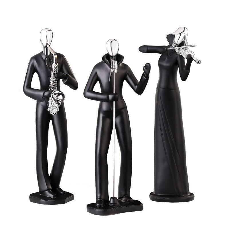 Résine noire argent tête saxo guitare sculpture concert artisanat cadeaux ornements - 2