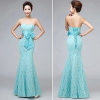 Cheap Sweetheart Strapless Mermaid Long Lace Mint Green Bridesmaid Dresses 2018 Hot With Bow Custom Size