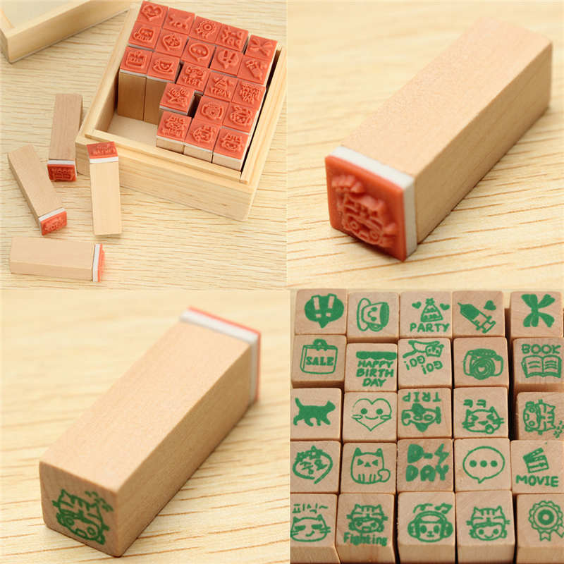 25pcs/Set Happy Life Green Cat Diary Stamp Set Album DIY Rubber Wooden Signet With Wooden Box DIY Decorative Craft Supplies