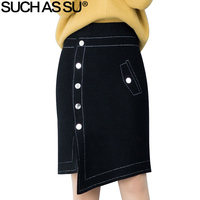Knit Asymmetrical Skirt Women 2018 New Autumn Winter Fashion Black Button Irregular Slim Elastic Waist Pencil Wrap Skirts Female
