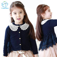 2017New Fashion Girls Spring Autumn Kids Clothing 2 6Y Lace Jacket Coat Cardigan Children Kreaon Style
