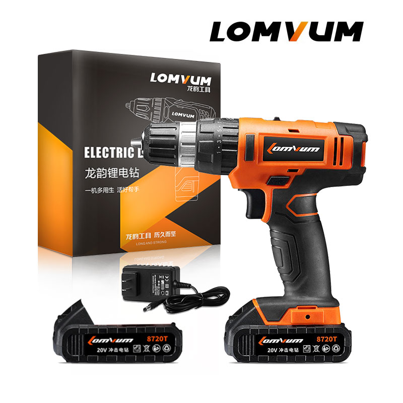 LOMVUM 20V Electric Rechargeable Multi function Cordless Drill With Lithium Battery Furadeira De Impacto Factory