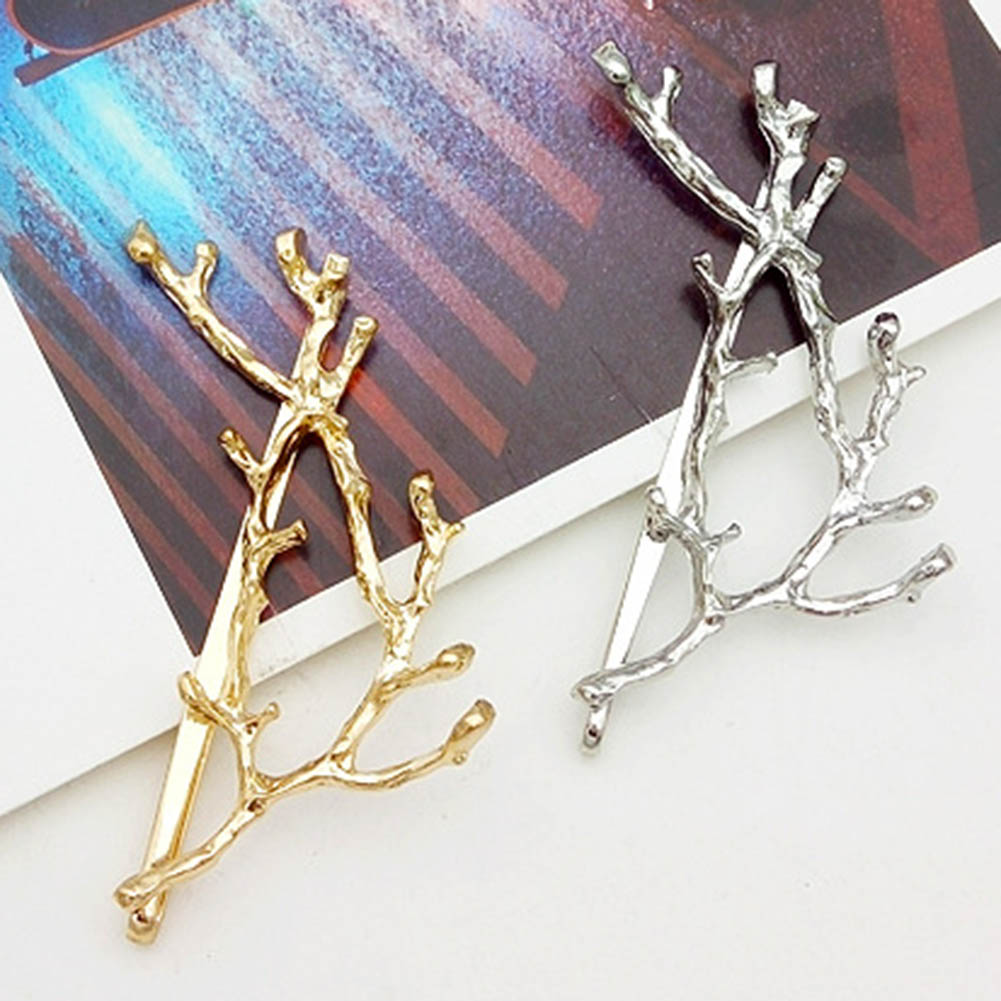 Boho Style Gold Sliver Color Plating Branch Hair Clip Barrettes Girls Women Lovely Hair Accessary Gift Hairpin