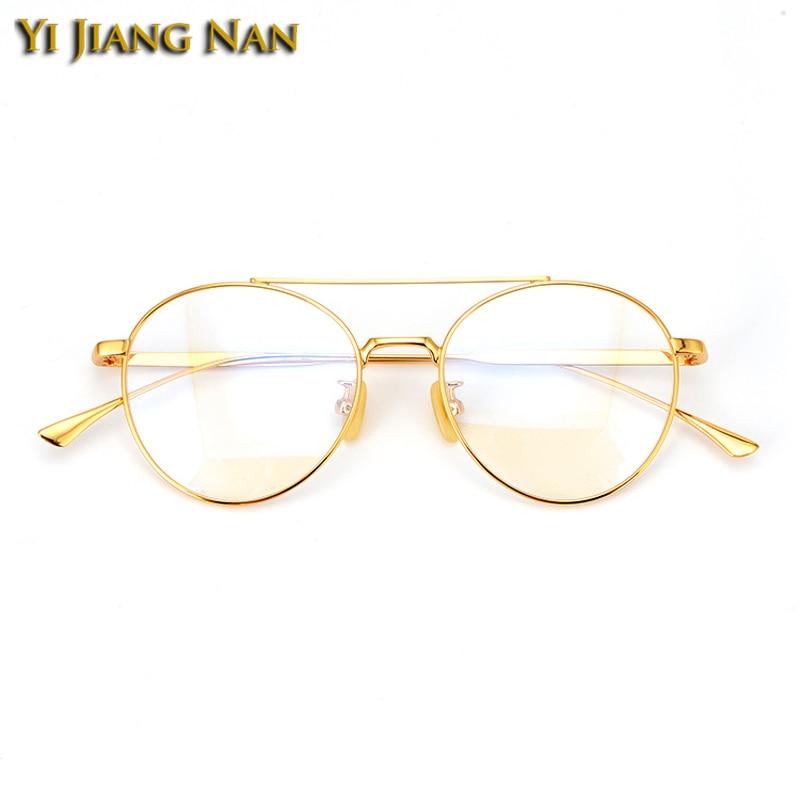 Marke Oculos Lente Yi gold Optische Vintage Gold Masculino Runde Silver Gafas Jiang rose De Optometria Mujer Grau Nan Brillen Auge Rahmen Frauen EEw7qC