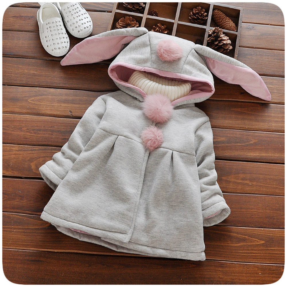 Newborn baby warm sweater autumn and winter new little girl hooded jacket Korean baby ears ear jacket children's clothing 520#