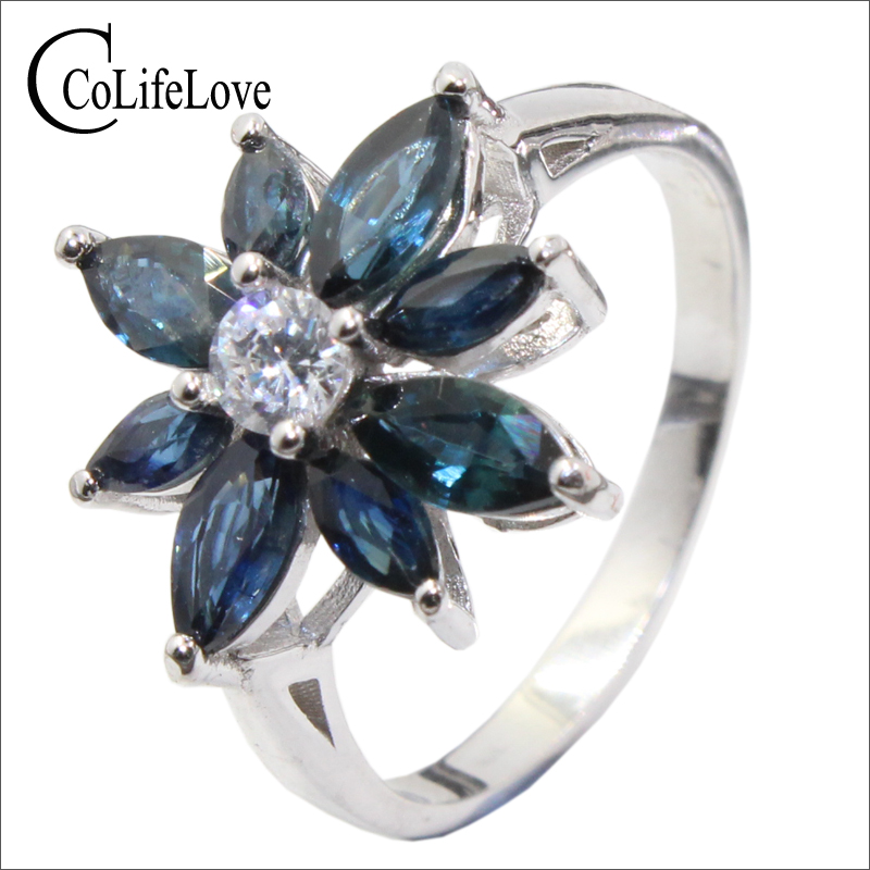 Romantic sapphire flower ring natural dark blue sapphire silver ring solid 925 sterling silver sapphire ring for evening party nokia 230 dark silver
