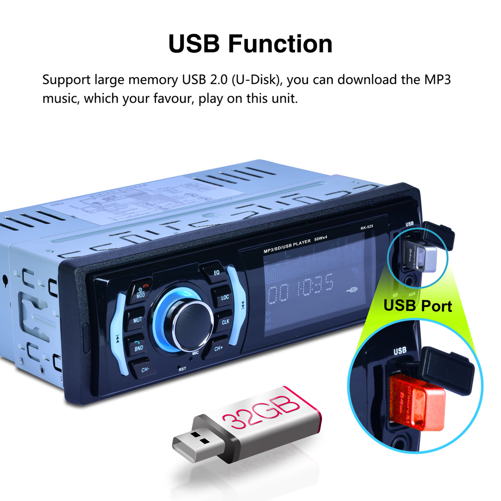 DC 12V Car MP3 Player Radio Playback Radio Tuner Blutooth FM EQ 4 Speaker Stereo