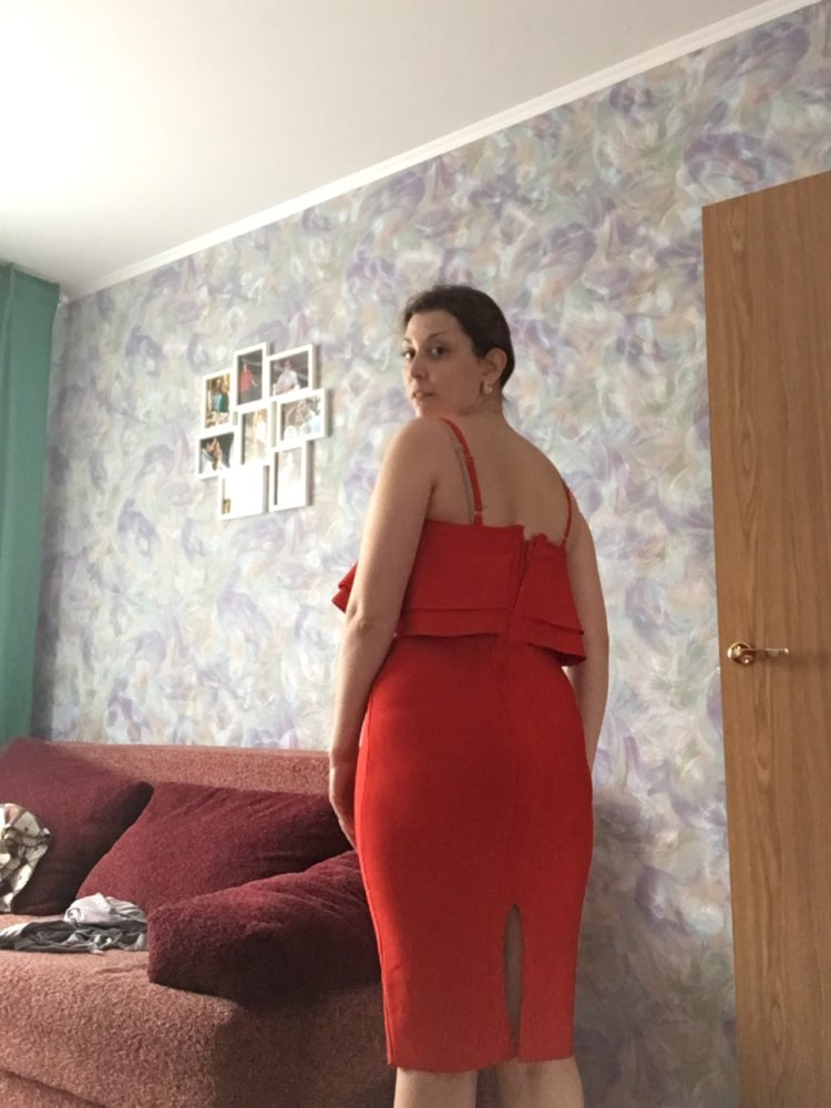 Women Bodycon Summer Red Bandage Dress Spaghetti Strap Vestidos Strapless Ruffles Midi Celebrity Evening Party Dress photo review