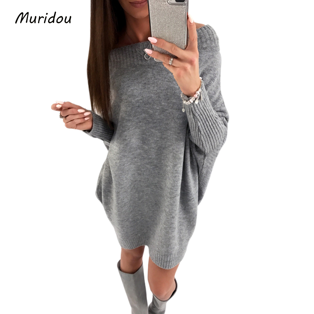 Muridou Casual knitted sweater dress women Cotton loose slash neck pullover batwing sleeve female Autumn winter dress 2017 цена и фото