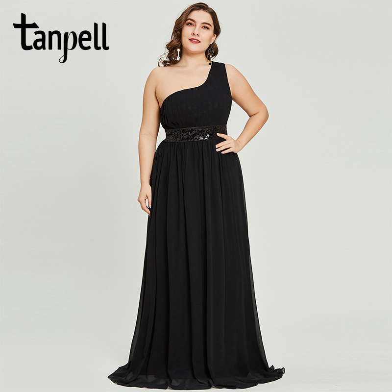 Tanpell One Shoulder Evening Dress Black Sleeveless Floor Length A Line Dresses Ladies Sequins Pleats Party Formal Evening Gown