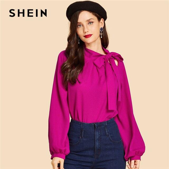 f9c57349ad0fa SHEIN Hot Pink Tie Neck Plain Top Vintage Elegant Plain Stand Collar Long  Sleeve Blouses Women Autumn Workwear Blouse