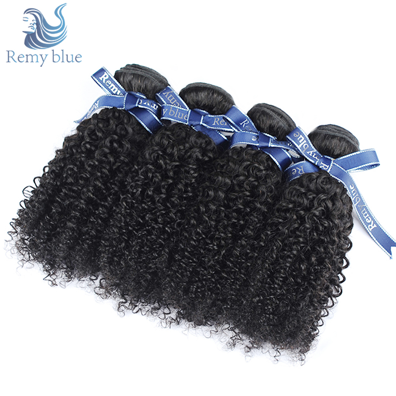 Remy Blue Indian Kinky Curly Hair 100% Human Hair Weave Bundles Deals 4 Pieces Natural Color Remy Hair Bundles No Smell & Tangle ...