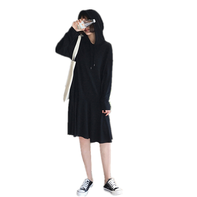 Autumn Winter Oversized Women Ladies Vintage Retro Loose Hooded Dress Pullover Sweatshirt <font><b>Hoodie</b></font> Sweats Vestido Hoody