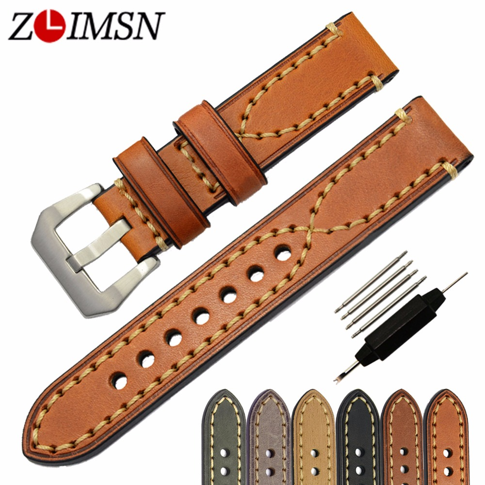 ZLIMSN Genuine Leather Watchbands for Sony Smartwatch 20mm 22mm 24mm 26mm 316L Stainless Steel Buckle Brown
