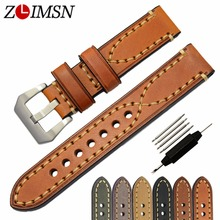 ZLIMSN Véritable Bracelets En Cuir pour Sony Smartwatch 20mm 22mm 24mm 26mm 316L En Acier Inoxydable Boucle Brun gris Montre Bracelet