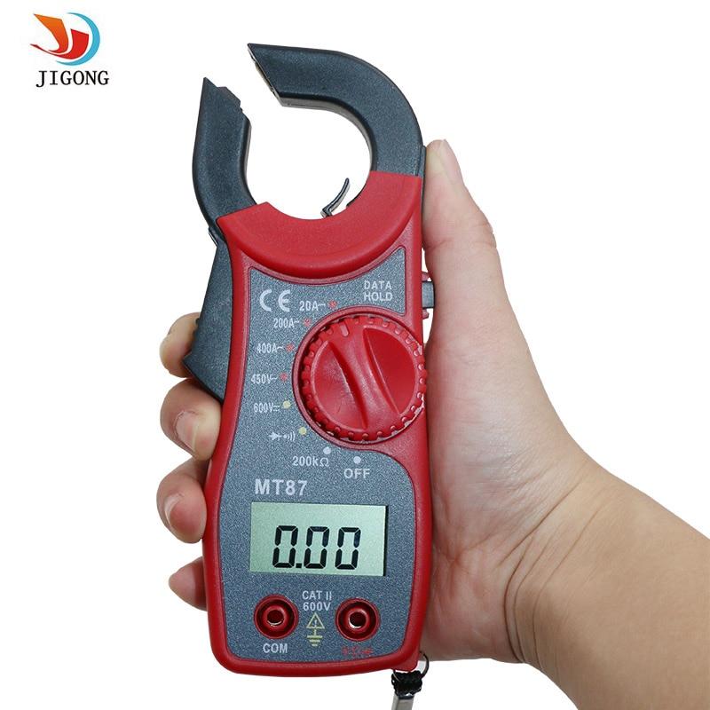 JIGONG MT87 LCD Digital Clamp Meter Multímetro Teste Voltmet Tensão Elétrica Multímetro AC/DC