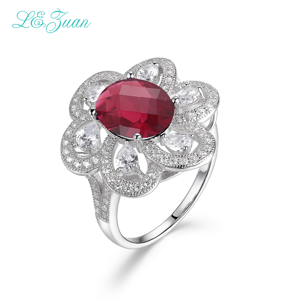 L&zuan 925 Sterling Silver Fine Jewelry Ring 3.62ct Ruby Gemstone Red stone Prong Setting Rings For Women Bijoux Femme R0042 W01