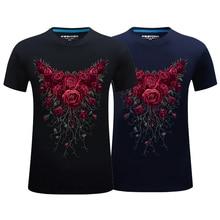 3D Rose Flower Print Summer Men Fashion Round Neck Short Sleeve Top Tee T-Shirt