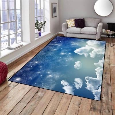 Else Blue Sky White Clouds Nature Night Stars 3d Print Non Slip Microfiber Living Room Decorative Modern Washable Area Rug Mat