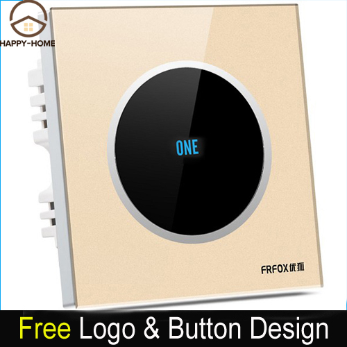 1 gang 1 way Gold Glass Screen Touch Wall Light Switch Logo Button Design Free 110V~250V micro touch switch,Free Shipping free shipping new fashion carving patterns design electric wall light switch 1 gang 1 way from manufacturer supplier 100 250v m