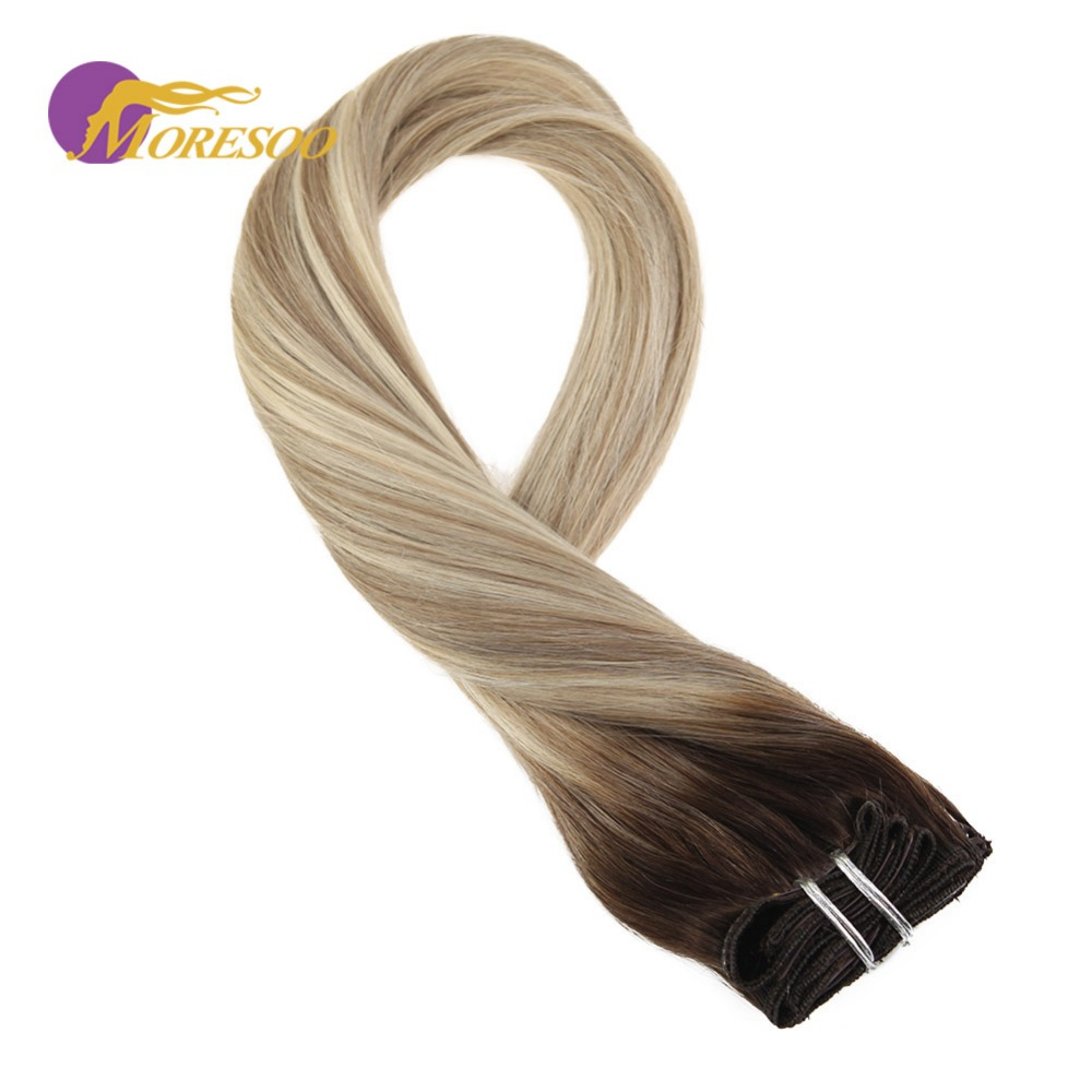 Moresoo Clip In Hair Extension Brown #3 Fading To Brown #12 Mixed With Blonde #613 Real Remy Brazilian Full Thick Hair 9Pcs/100G