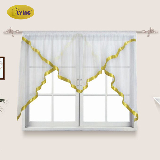 Flying White Sheer Kitchen Tulle Curtains for home window Perspective tulle for Blinds French Curtains Drapes Drop Shipping