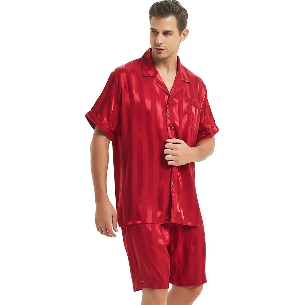 Mens Silk Satin Short  Pajamas Set  Pajama Pyjamas  Set  Sleepwear Set  S , M , L  , XL ,  2XL  , 3XL ,  4XL