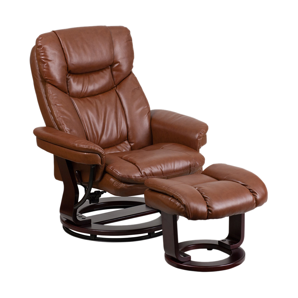 Flash Furniture Contemporary Brown Vintage Leather Recliner And Ottoman With Swiveling Mahogany Wood Base [863-BT-7821-VIN-GG] сумка через плечо ashwood vintage vin 041 vin 041 vintage tan