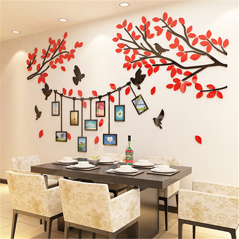 Us 19 5 40 Off Tree Photo Wall Acrylic 3d Wall Sticker Modern Living Room Sofa Tv Background Wall Stickers Bedroom Photo Frame Home Decoration In