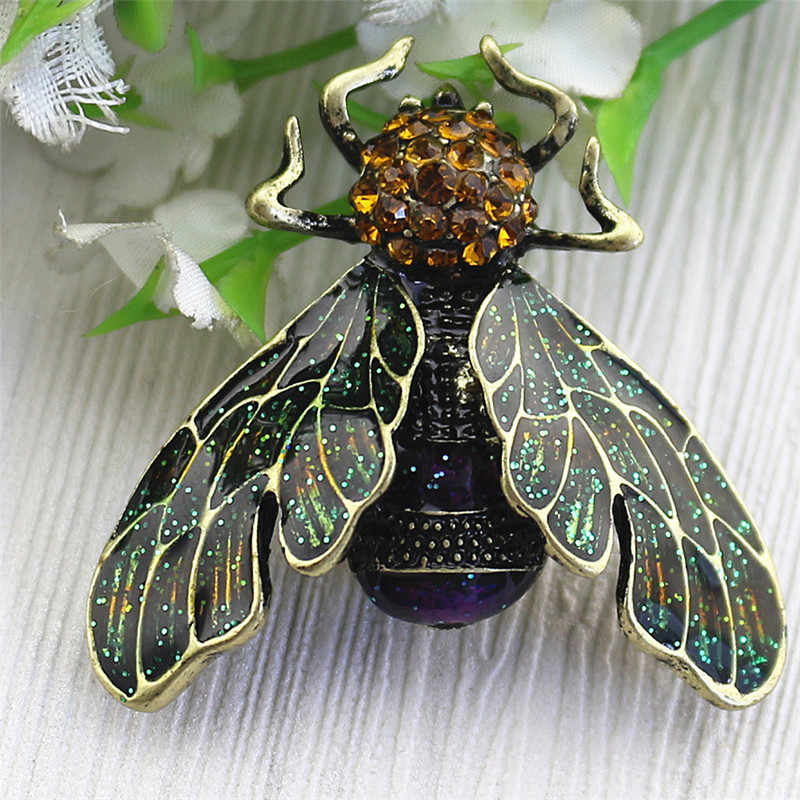 Vintage Bee Broche Drop Glazuur emaille Painted Insect Bekend Beetle Broches Koppels Naald Groothandel