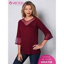 36acd08b94 VENCA Semitransparente Sugerente Tejido de Mesh Bordado Talla Grande Mujer  Camiseta T shirt Tes Tops Escote
