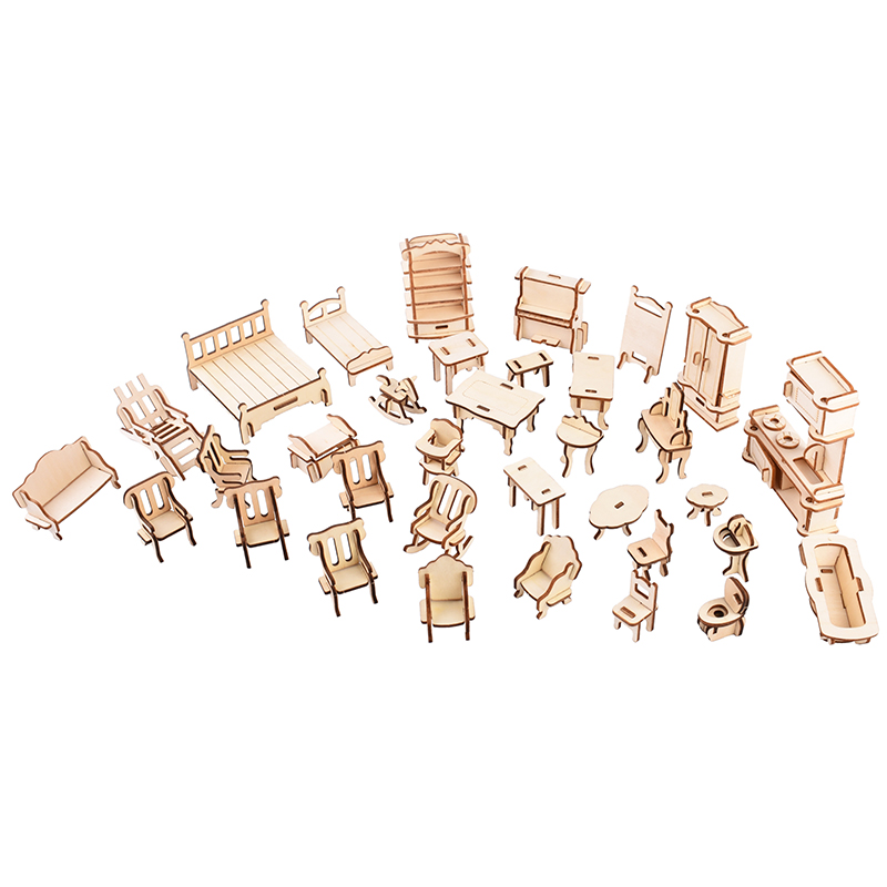 DIY Furniture package scale diy toy model kit including 34 sets of mini wooden furniture Little fun game