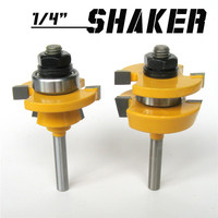 2pc 1 4 Shank Shaker Bevel Rail Stile Router Bit Woodworking Cutter Tool Set Trimmer Cutter