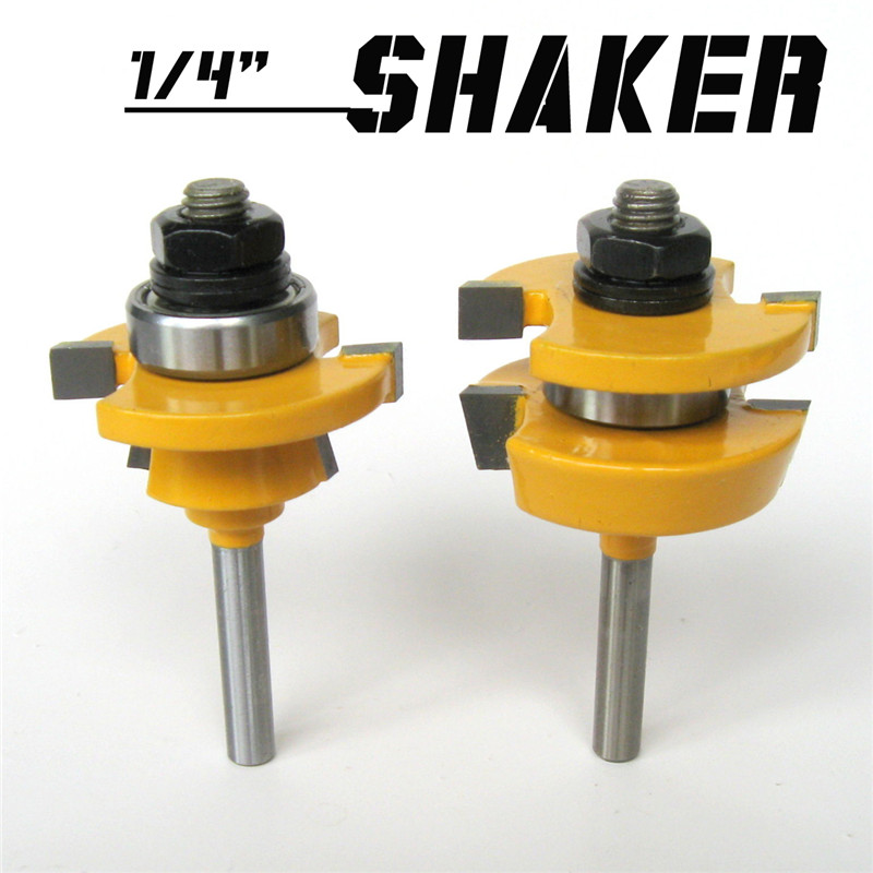 2pc 1/4'' Shank Shaker Bevel Rail & Stile Router Bit Woodworking Cutter Tool Set Trimmer Cutter Tool Woodworking Tool цена
