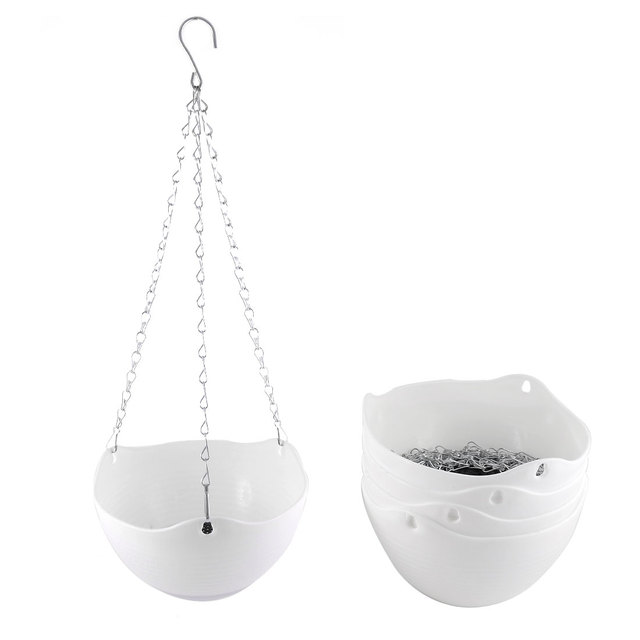 Uxcell 5pcs White Plastic Hanging Flower Pot Chain Plant Planter Basket Home Garden Decor