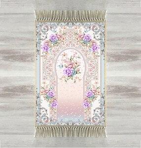 Image 1 - Autres tapis de prière modernes, Roses violettes, 3d, motif Floral, musulman turc, avec pompons, antidérapant, pour laïd islamique, pour Ramadan