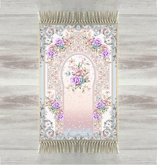 Autres tapis de prière modernes, Roses violettes, 3d, motif Floral, musulman turc, avec pompons, antidérapant, pour laïd islamique, pour Ramadan