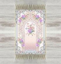 Else Purple Flowers Roses Floral 3d Turkish Islamic Muslim Prayer Rugs Tasseled Anti Slip Modern Prayer Mat Ramadan Eid Gifts