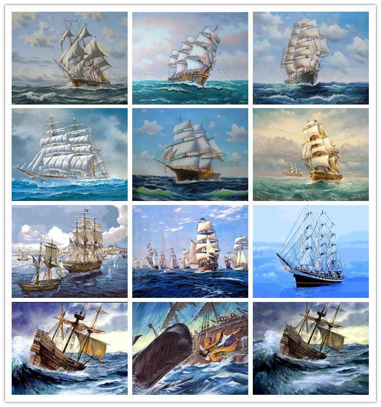 Алмазная картина якорь корабля на море DIY 3d-бриллиантовая вышивка холст корабль набор «Пейзаж» для вышивки стежка мозаичные рисунки