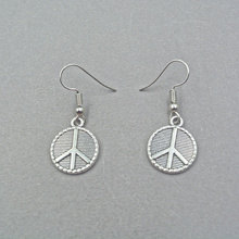 1pair Silver Peace Sign Earrings Peace Symbol Earrings Peace on Earth Gift for her peace