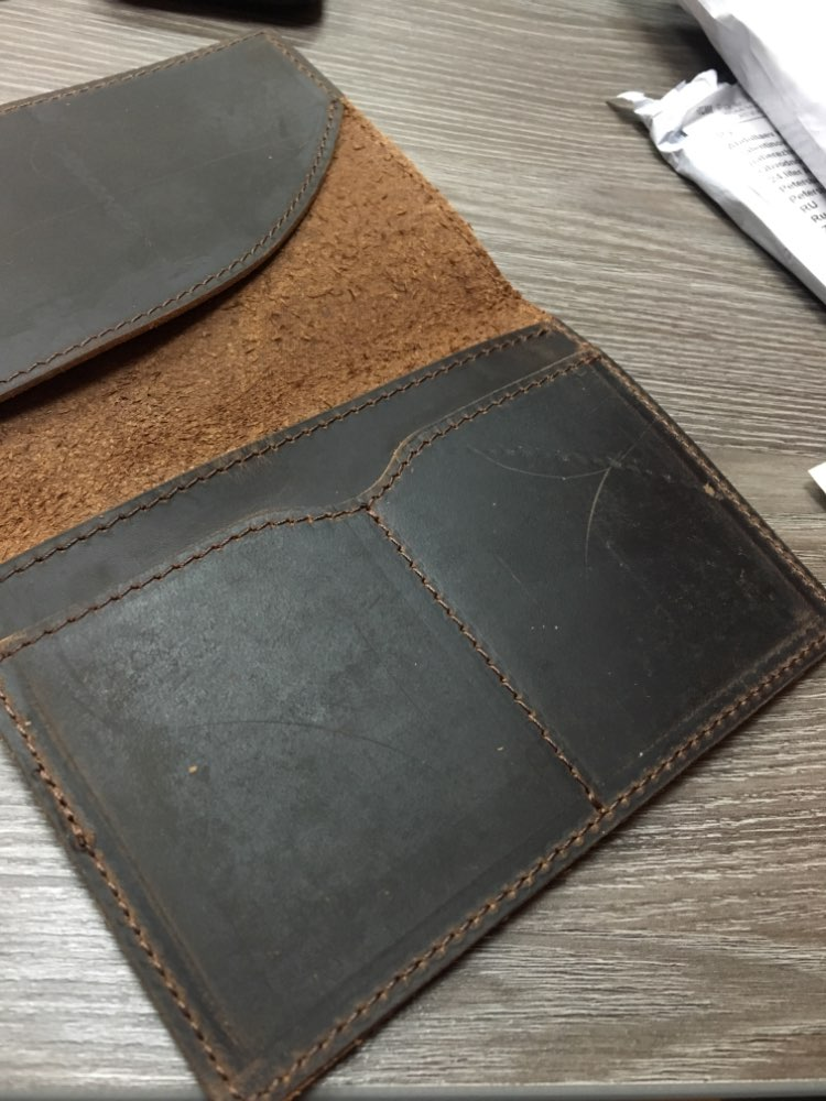 2019 New Genuine Crazy Horse Leather Passport Cover Solid Credit ID Card Case Holder Business Unisex Travel Wallet photo review