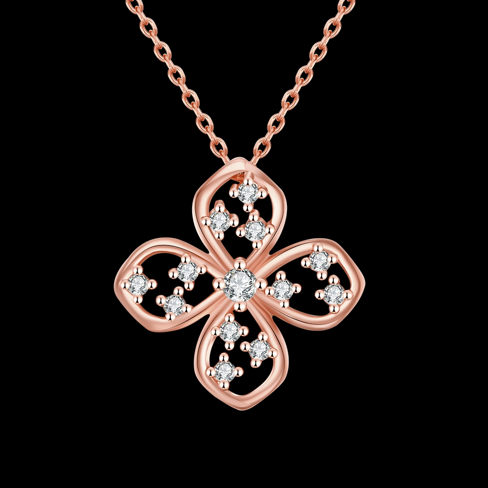 45cm Thin Elegant Clover Design Pave Zircon Party Jewelry Chain Plating Rose Gold Pendant Necklace