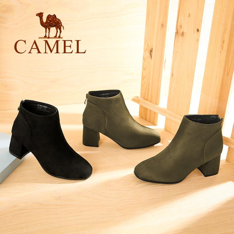 Confort Bottes Chaussures Britannique Haut brown Vache Daim En Femmes Chameau Peluche Talon Mode D'hiver Courtes Courte De Black Cheville Style Chaudes T1lKc3FJ